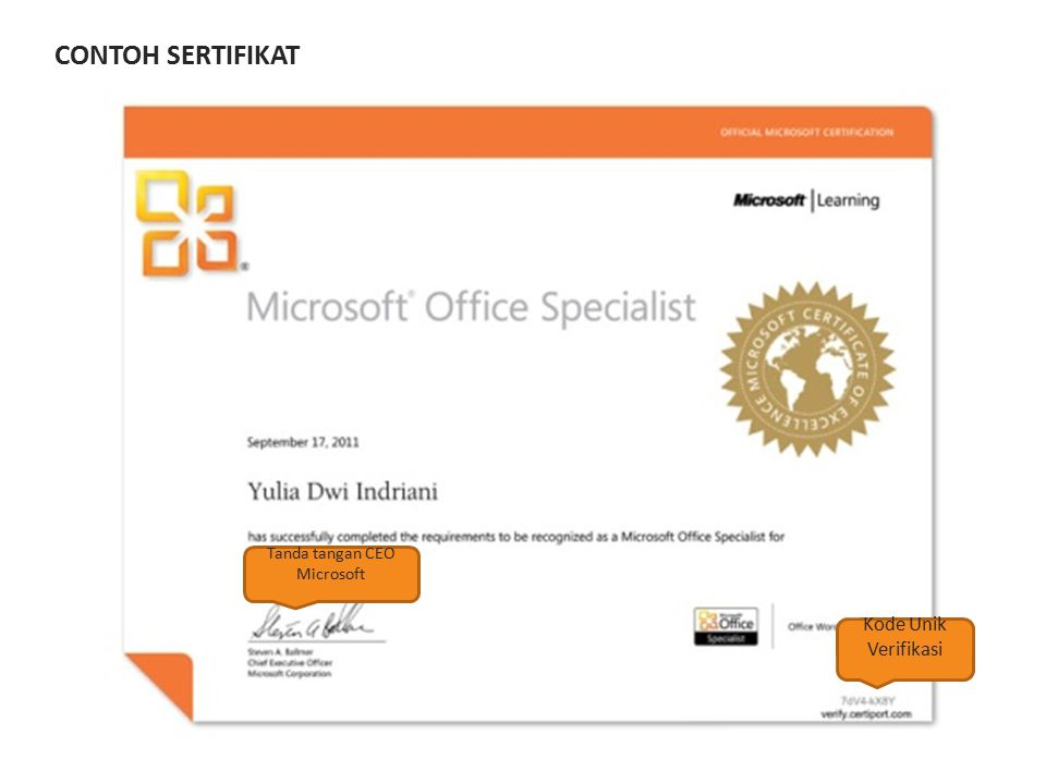 CONTOH SERTIFIKAT Kode Unik Verifikasi Tanda tangan CEO Microsoft
