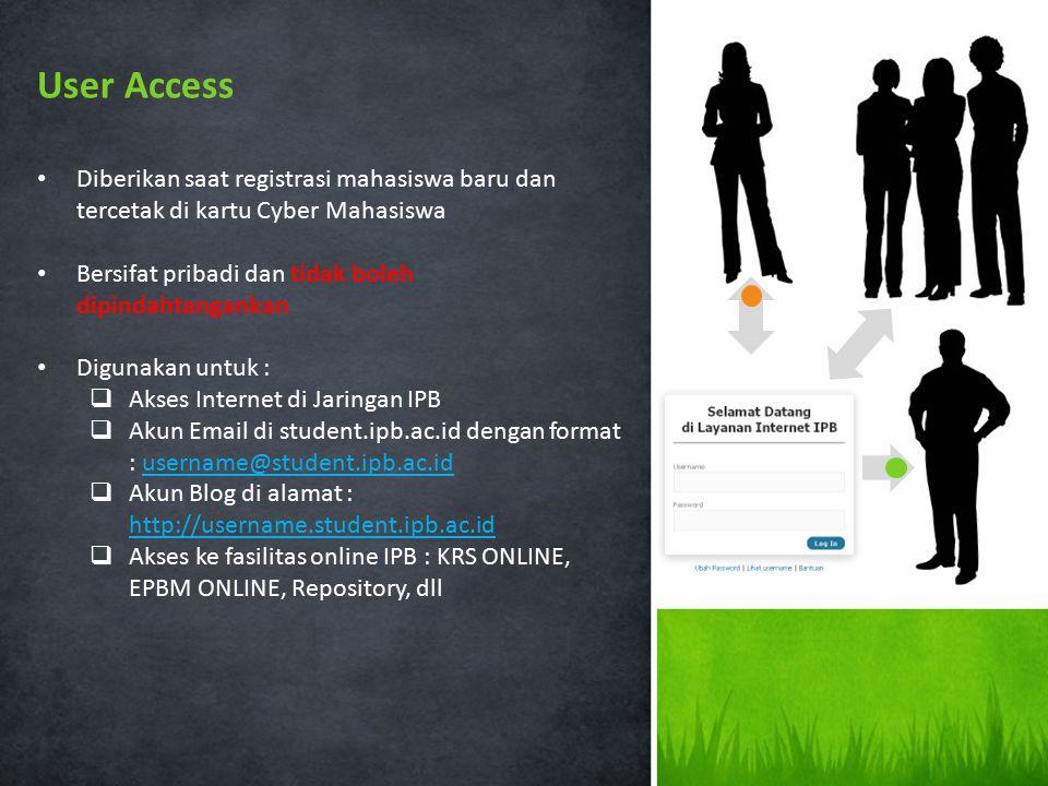 Diberikan saat registrasi mahasiswa baru dan tercetak di kartu Cyber Mahasiswa Bersifat pribadi dan tidak boleh dipindahtangankan Digunakan untuk : 