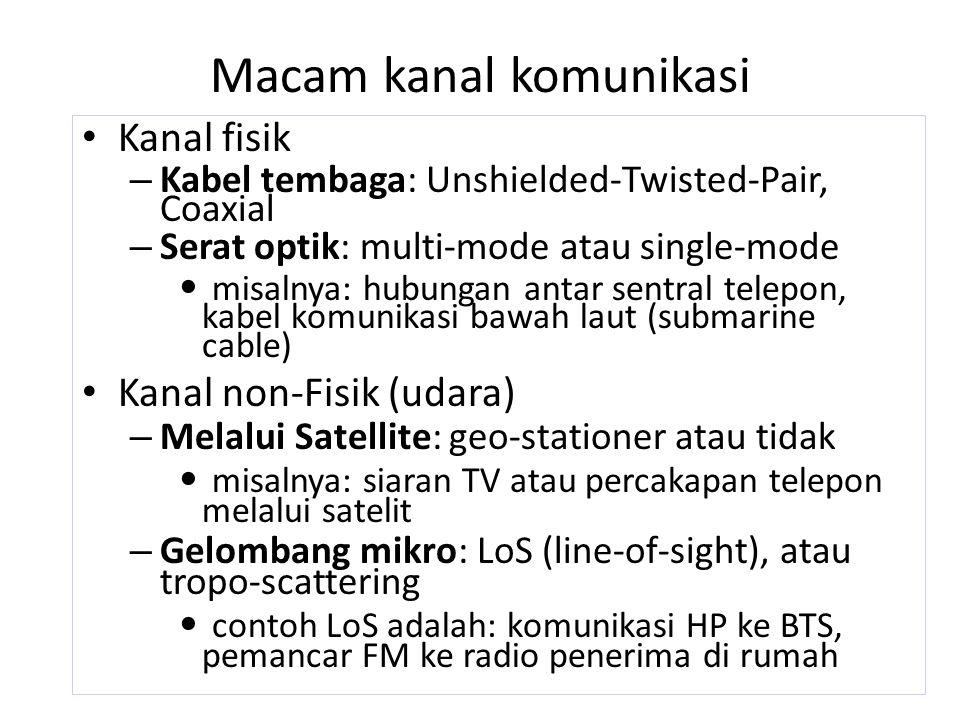 Macam kanal komunikasi Kanal fisik – Kabel tembaga: Unshielded-Twisted-Pair, Coaxial – Serat optik: multi-mode atau single-mode misalnya: hubungan ant