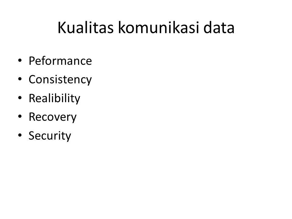 Kualitas komunikasi data Peformance Consistency Realibility Recovery Security