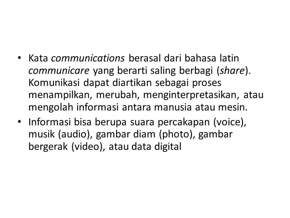Kata communications berasal dari bahasa latin communicare yang berarti saling berbagi (share). Komunikasi dapat diartikan sebagai proses menampilkan,