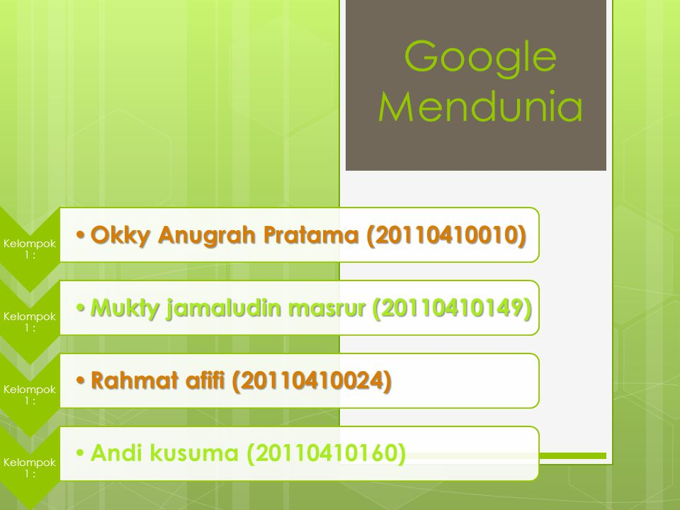 Google Mendunia Kelompok 1 : Okky Anugrah Pratama (20110410010) Okky Anugrah Pratama (20110410010) Kelompok 1 : Mukty jamaludin masrur (20110410149) M