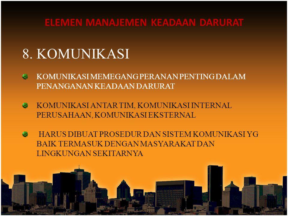 ELEMEN MANAJEMEN KEADAAN DARURAT 8.KOMUNIKASI KOMUNIKASI MEMEGANG PERANAN PENTING DALAM PENANGANAN KEADAAN DARURAT KOMUNIKASI ANTAR TIM, KOMUNIKASI IN