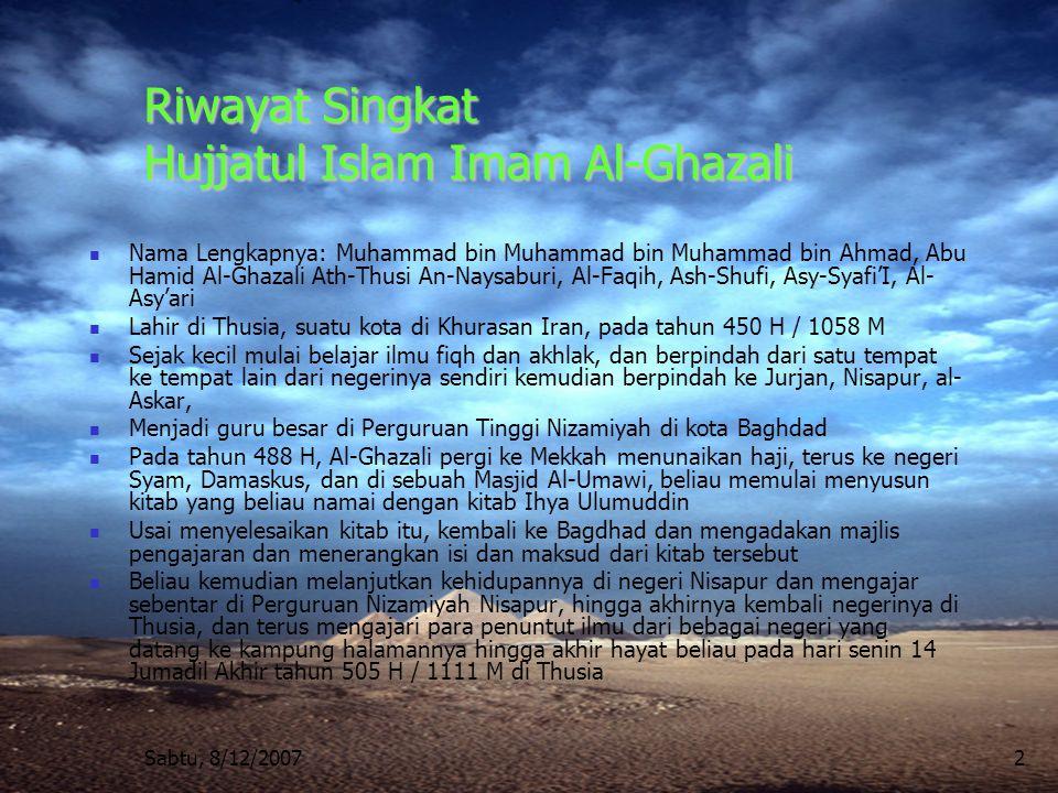 Sabtu, 8/12/20073 Rubu' Masalah Ibadah : mencakup 10 Kitab 1.