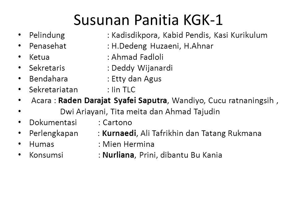 Susunan Panitia KGK-1 Pelindung : Kadisdikpora, Kabid Pendis, Kasi Kurikulum Penasehat: H.Dedeng Huzaeni, H.Ahnar Ketua : Ahmad Fadloli Sekretaris: De
