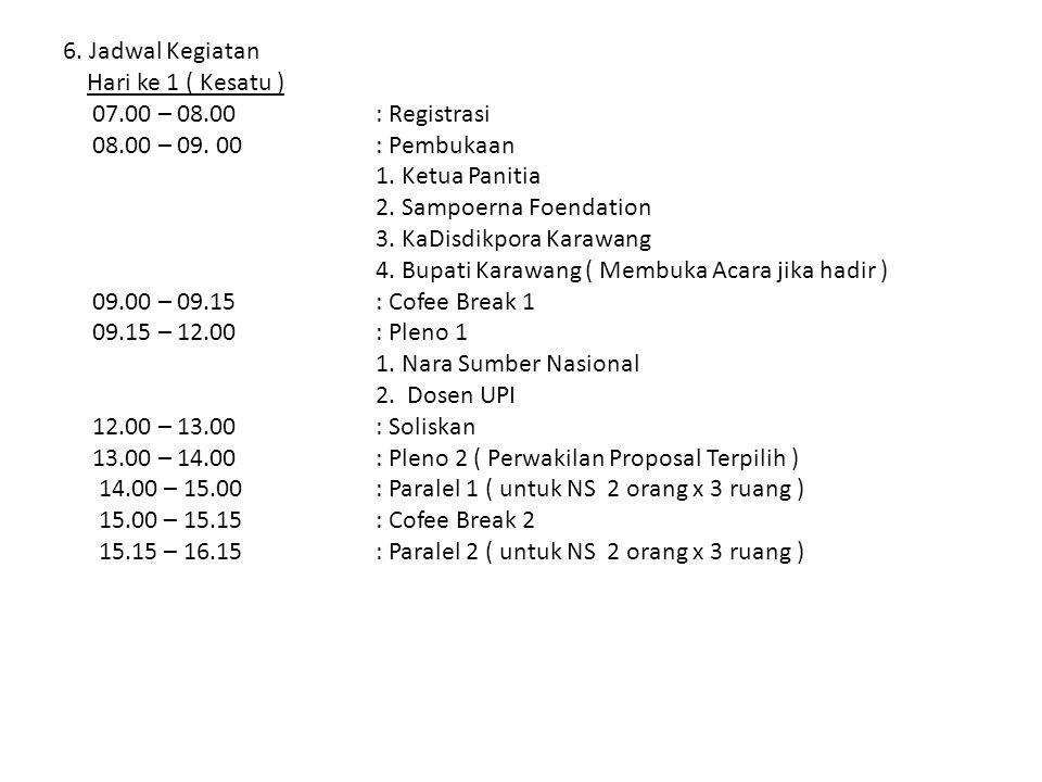 Hari ke 2 ( Kedua ) 07.00 – 08.00 : Registrasi 08.00 – 09.