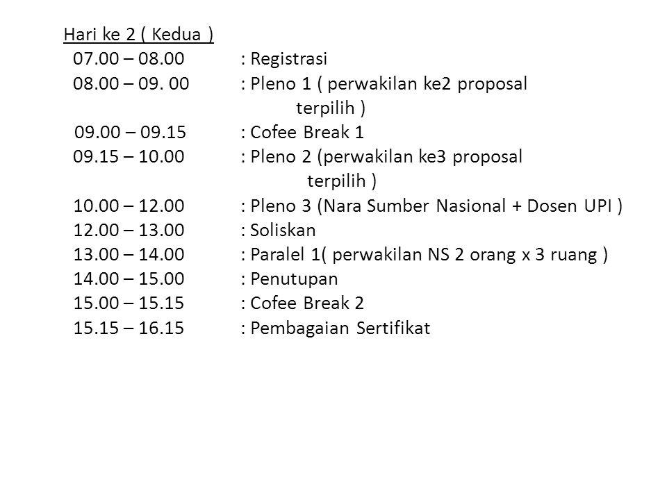 Hari ke 2 ( Kedua ) 07.00 – 08.00 : Registrasi 08.00 – 09. 00: Pleno 1 ( perwakilan ke2 proposal terpilih ) 09.00 – 09.15 : Cofee Break 1 09.15 – 10.0