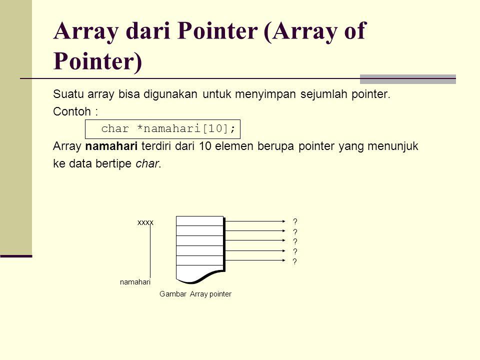Suatu array bisa digunakan untuk menyimpan sejumlah pointer. Contoh : char *namahari[10]; Array namahari terdiri dari 10 elemen berupa pointer yang me