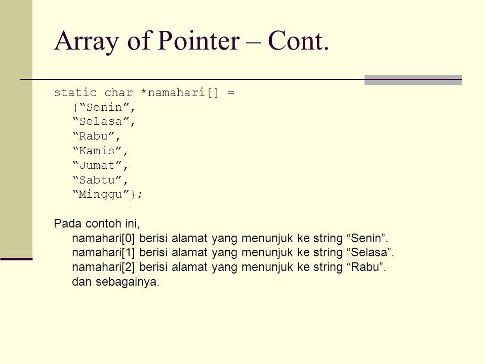 """Array of Pointer – Cont. static char *namahari[] = {""""Senin"""", """"Selasa"""", """"Rabu"""", """"Kamis"""", """"Jumat"""", """"Sabtu"""", """"Minggu""""}; Pada contoh ini, namahari[0] beri"""