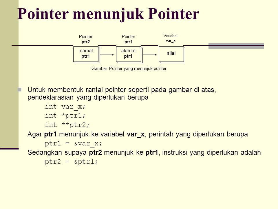 Pointer menunjuk Pointer Untuk membentuk rantai pointer seperti pada gambar di atas, pendeklarasian yang diperlukan berupa int var_x; int *ptr1; int *