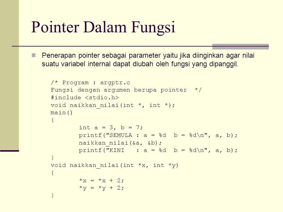 Pointer Dalam Fungsi Penerapan pointer sebagai parameter yaitu jika diinginkan agar nilai suatu variabel internal dapat diubah oleh fungsi yang dipang