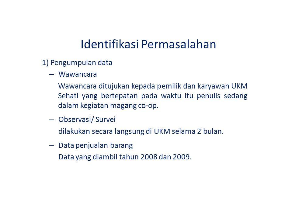 Identifikasi Permasalahan 1) Pengumpulan data – Wawancara Wawancara ditujukan kepada pemilik dan karyawan UKM Sehati yang bertepatan pada waktu itu pe
