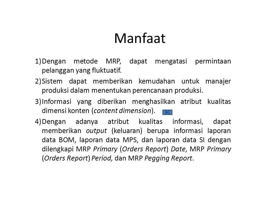 Manfaat 1)Dengan metode MRP, dapat mengatasi permintaan pelanggan yang fluktuatif. 2)Sistem dapat memberikan kemudahan untuk manajer produksi dalam me
