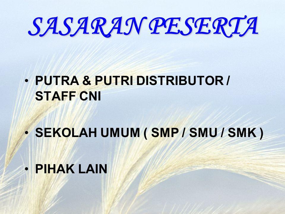 SASARAN PESERTA PUTRA & PUTRI DISTRIBUTOR / STAFF CNI SEKOLAH UMUM ( SMP / SMU / SMK ) PIHAK LAIN