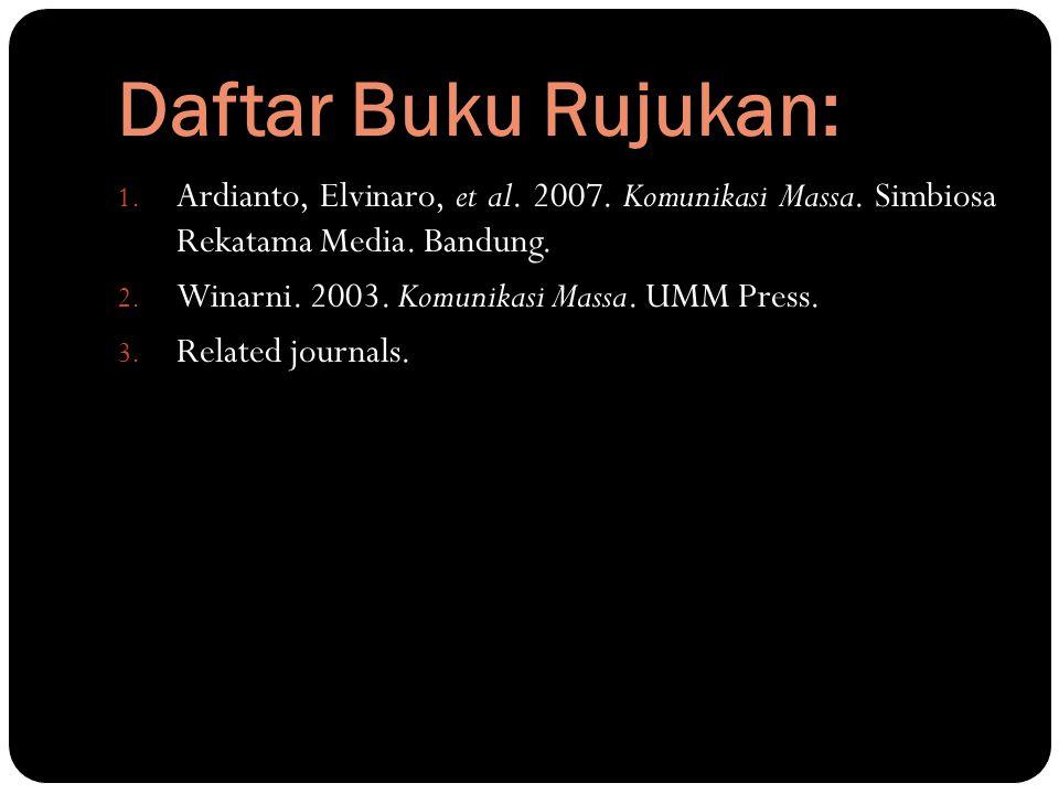 Daftar Buku Rujukan: 1. Ardianto, Elvinaro, et al. 2007. Komunikasi Massa. Simbiosa Rekatama Media. Bandung. 2. Winarni. 2003. Komunikasi Massa. UMM P