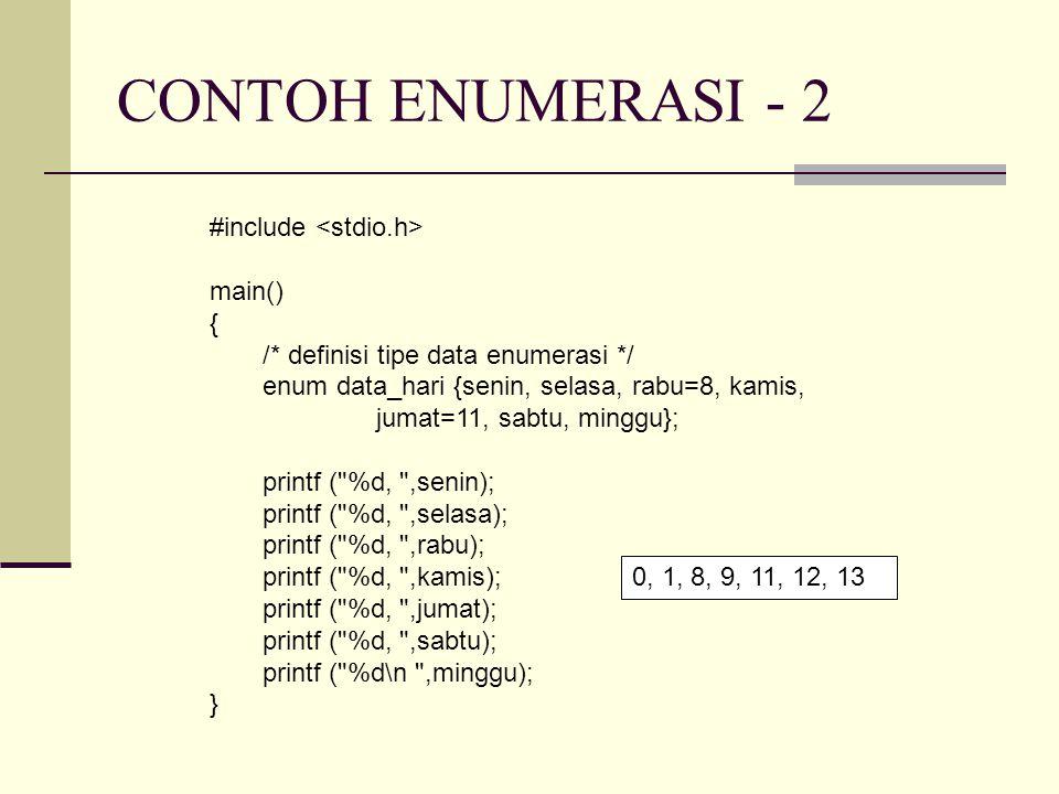 CONTOH ENUMERASI - 2 #include main() { /* definisi tipe data enumerasi */ enum data_hari {senin, selasa, rabu=8, kamis, jumat=11, sabtu, minggu}; printf ( %d, ,senin); printf ( %d, ,selasa); printf ( %d, ,rabu); printf ( %d, ,kamis); printf ( %d, ,jumat); printf ( %d, ,sabtu); printf ( %d\n ,minggu); } 0, 1, 8, 9, 11, 12, 13