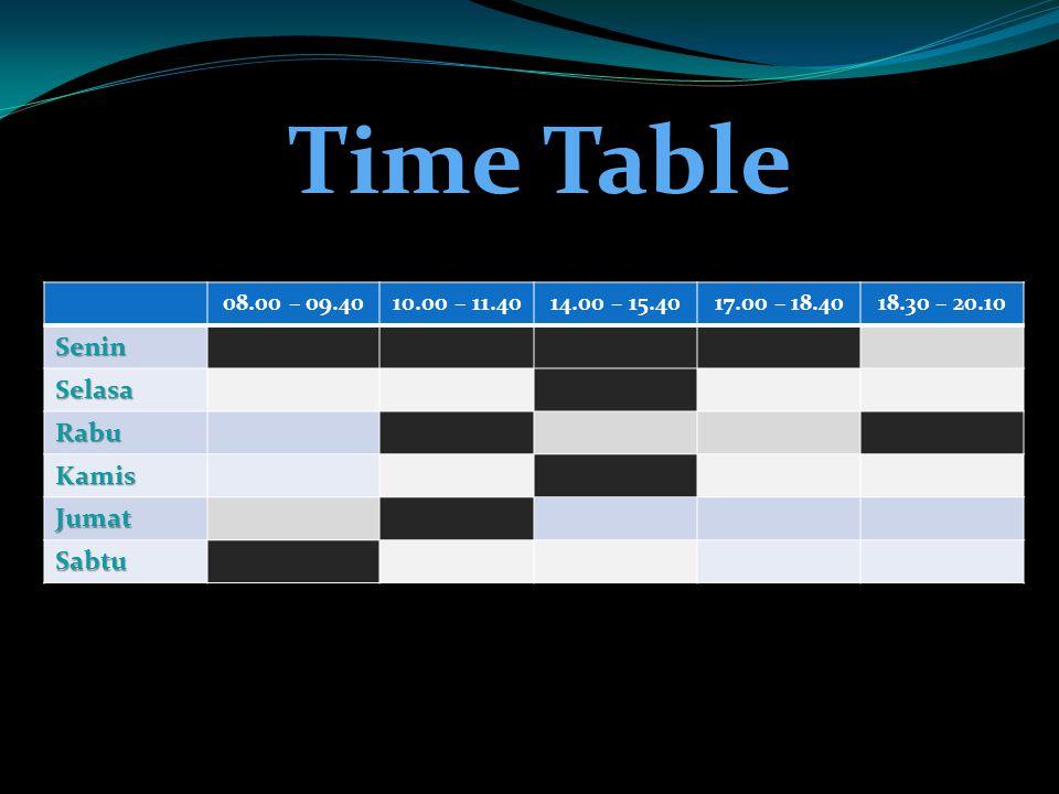 08.00 – 09.4010.00 – 11.4014.00 – 15.4017.00 – 18.4018.30 – 20.10 Senin Selasa Rabu Kamis Jumat Sabtu Time Table