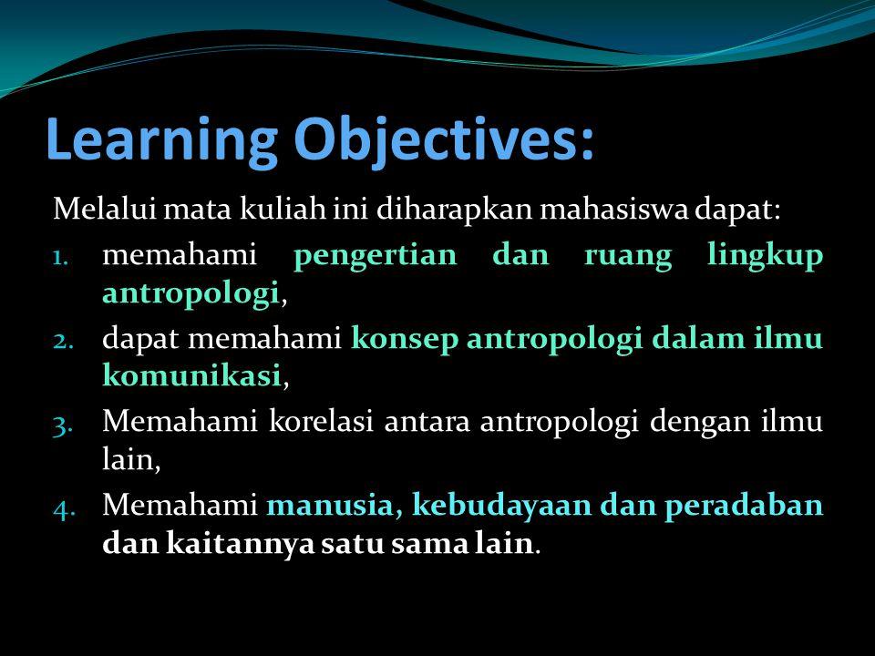 Learning Objectives: Melalui mata kuliah ini diharapkan mahasiswa dapat: 1. memahami pengertian dan ruang lingkup antropologi, 2. dapat memahami konse