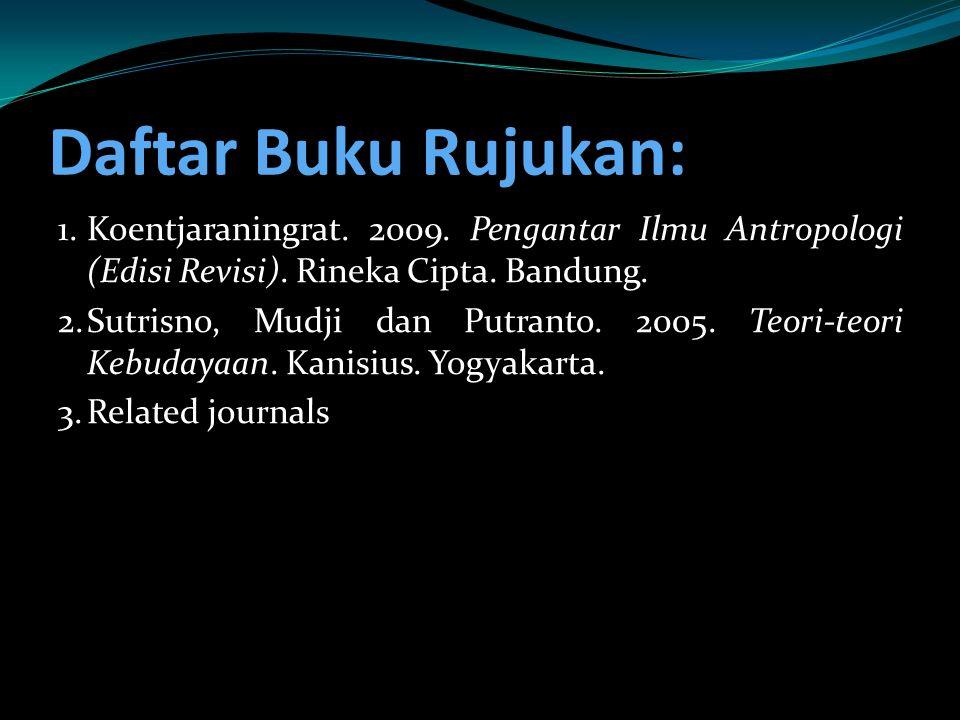 Daftar Buku Rujukan: 1.Koentjaraningrat. 2009. Pengantar Ilmu Antropologi (Edisi Revisi). Rineka Cipta. Bandung. 2.Sutrisno, Mudji dan Putranto. 2005.