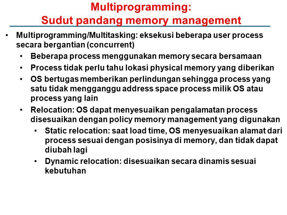 Multiprogramming/Multitasking: eksekusi beberapa user process secara bergantian (concurrent) Beberapa process menggunakan memory secara bersamaan Proc