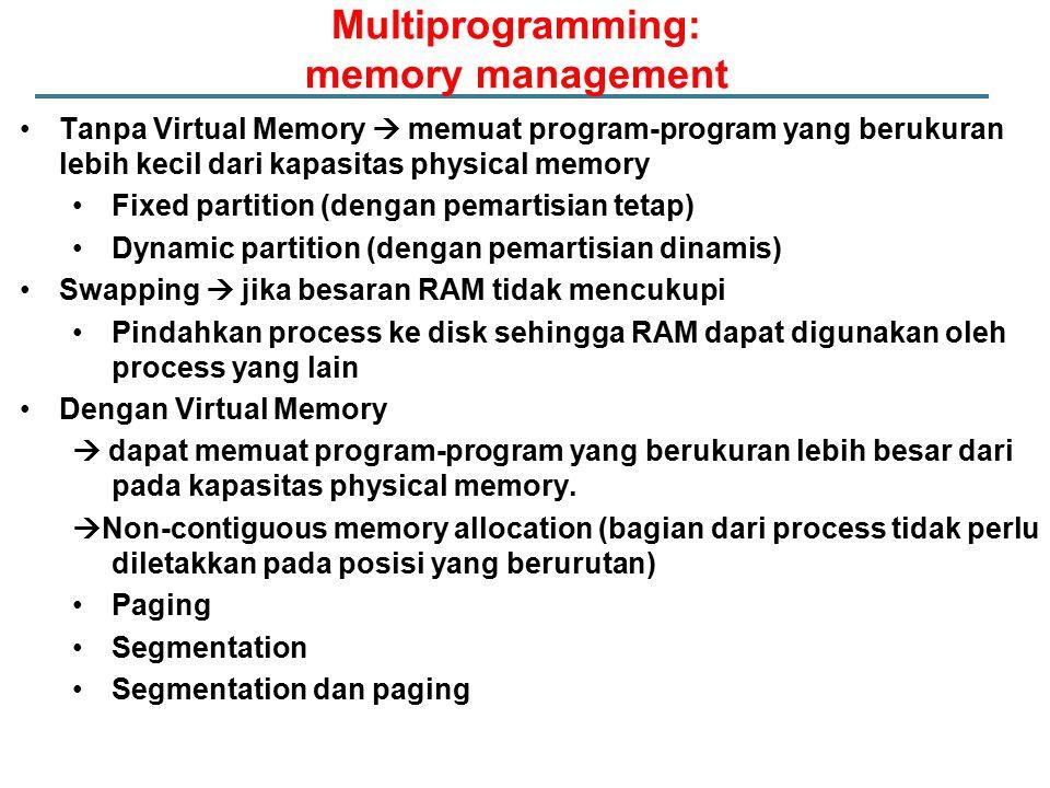 Tanpa Virtual Memory  memuat program-program yang berukuran lebih kecil dari kapasitas physical memory Fixed partition (dengan pemartisian tetap) Dyn