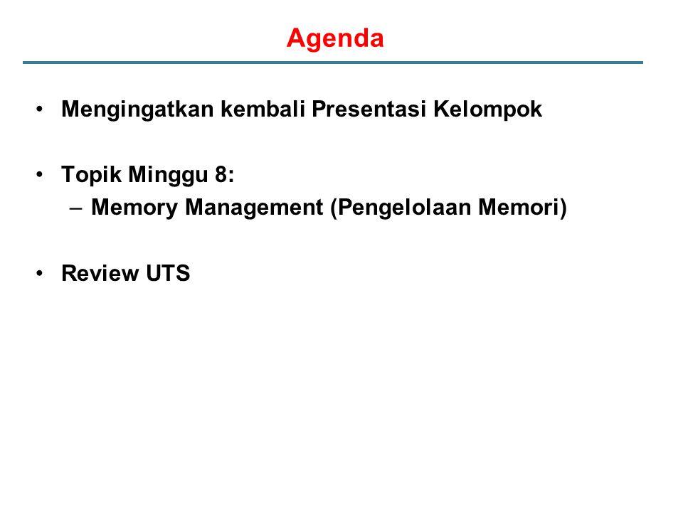 Agenda Mengingatkan kembali Presentasi Kelompok Topik Minggu 8: –Memory Management (Pengelolaan Memori) Review UTS