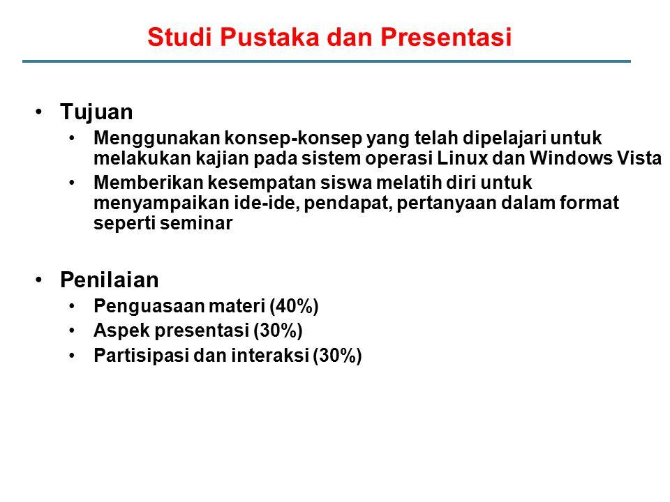 Studi Pustaka dan Presentasi Tujuan Menggunakan konsep-konsep yang telah dipelajari untuk melakukan kajian pada sistem operasi Linux dan Windows Vista