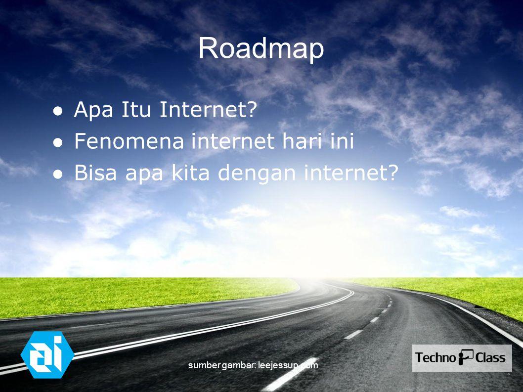 Roadmap ● Apa Itu Internet? ● Fenomena internet hari ini ● Bisa apa kita dengan internet? sumber gambar: leejessup.com