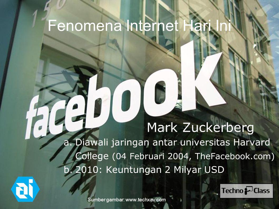 Fenomena Internet Hari Ini a.Diawali jaringan antar universitas Harvard College (04 Februari 2004, TheFacebook.com) b.2010: Keuntungan 2 Milyar USD Mark Zuckerberg Sumber gambar: www.techxav.com