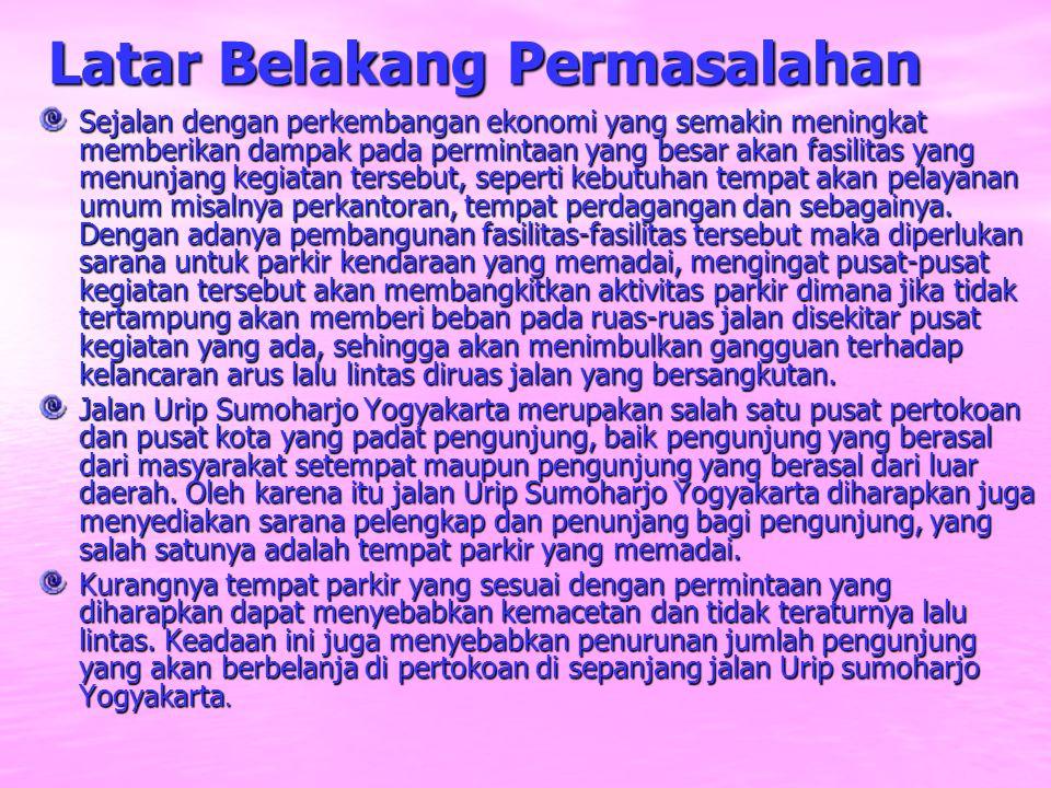 Rumusan Masalah Apakah lahan parkir yang tersedia di pusat perbelanjaan di jalan Urip Sumoharjo Yogyakarta sudah memenuhi kebutuhan parkir para pengunjung.