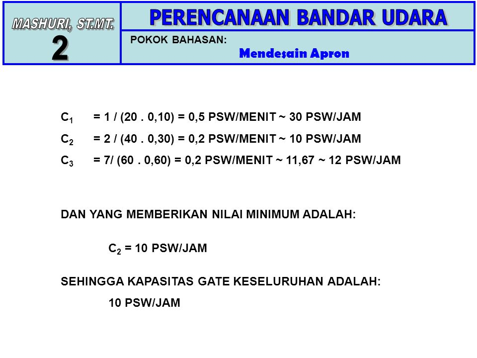 POKOK BAHASAN: Mendesain Apron C 1 = 1 / (20.0,10) = 0,5 PSW/MENIT ~ 30 PSW/JAM C 2 = 2 / (40.