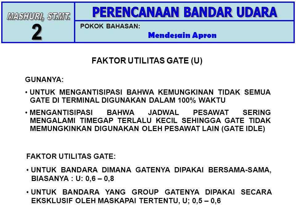 POKOK BAHASAN: Mendesain Apron FAKTOR UTILITAS GATE (U) GUNANYA: UNTUK MENGANTISIPASI BAHWA KEMUNGKINAN TIDAK SEMUA GATE DI TERMINAL DIGUNAKAN DALAM 100% WAKTU MENGANTISIPASI BAHWA JADWAL PESAWAT SERING MENGALAMI TIMEGAP TERLALU KECIL SEHINGGA GATE TIDAK MEMUNGKINKAN DIGUNAKAN OLEH PESAWAT LAIN (GATE IDLE) FAKTOR UTILITAS GATE: UNTUK BANDARA DIMANA GATENYA DIPAKAI BERSAMA-SAMA, BIASANYA : U: 0,6 – 0,8 UNTUK BANDARA YANG GROUP GATENYA DIPAKAI SECARA EKSKLUSIF OLEH MASKAPAI TERTENTU, U; 0,5 – 0,6