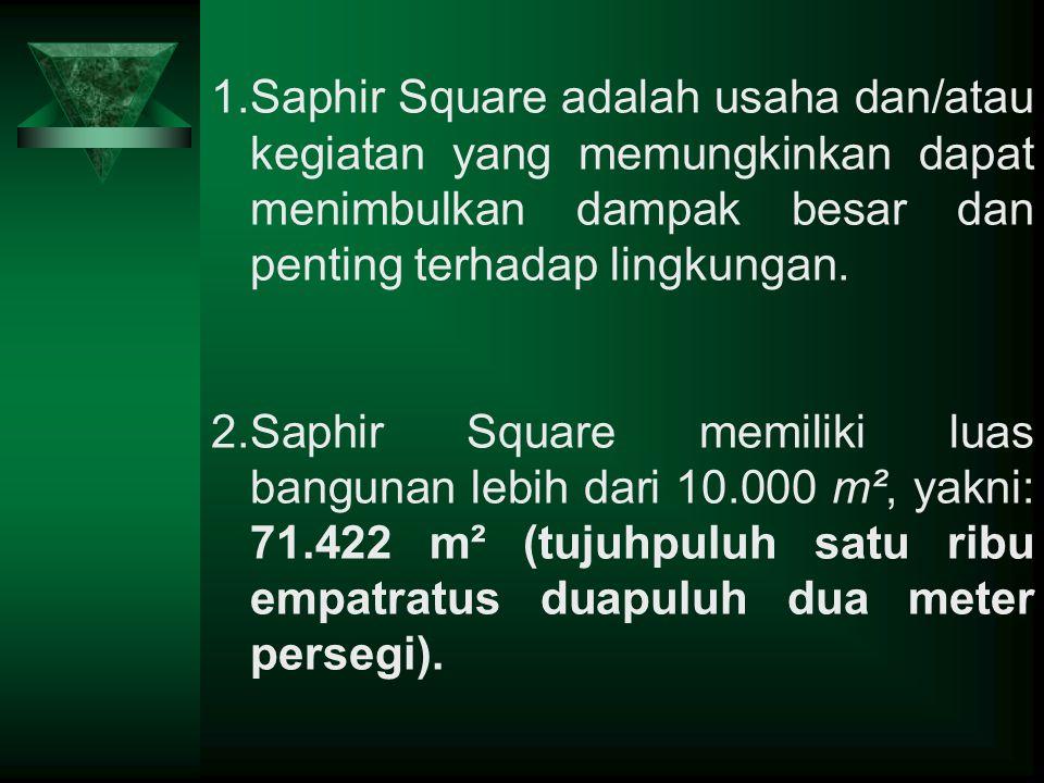 1.Saphir Square adalah usaha dan/atau kegiatan yang memungkinkan dapat menimbulkan dampak besar dan penting terhadap lingkungan. 2.Saphir Square memil