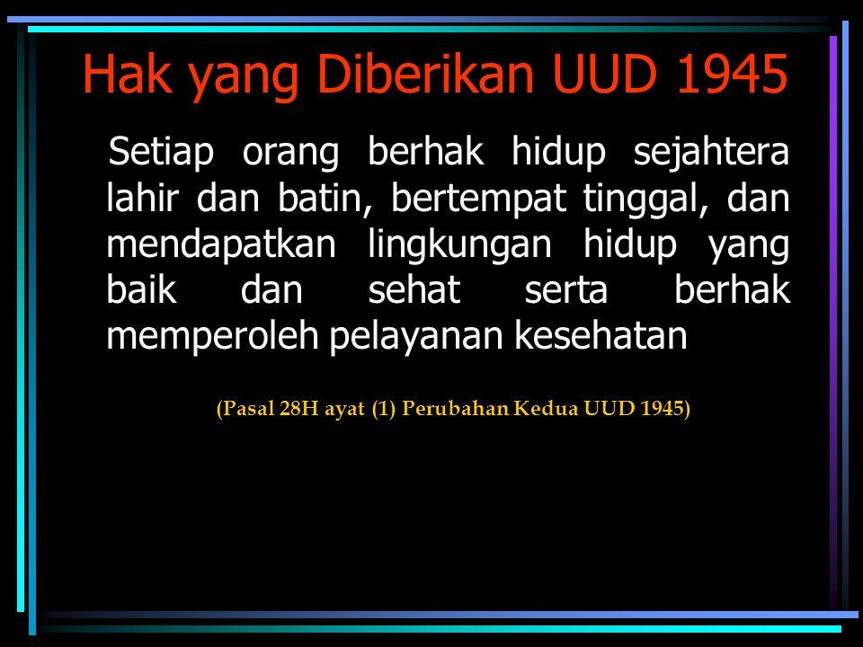 Hak yang Diberikan UUD 1945 Setiap orang berhak hidup sejahtera lahir dan batin, bertempat tinggal, dan mendapatkan lingkungan hidup yang baik dan seh