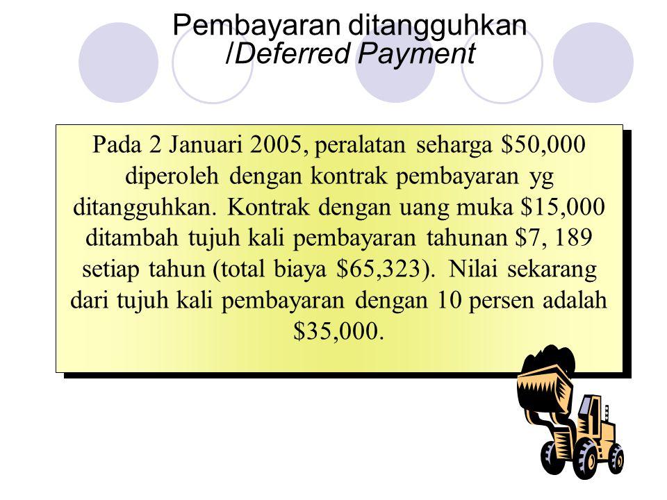 Pembayaran ditangguhkan /Deferred Payment Pada 2 Januari 2005, peralatan seharga $50,000 diperoleh dengan kontrak pembayaran yg ditangguhkan. Kontrak