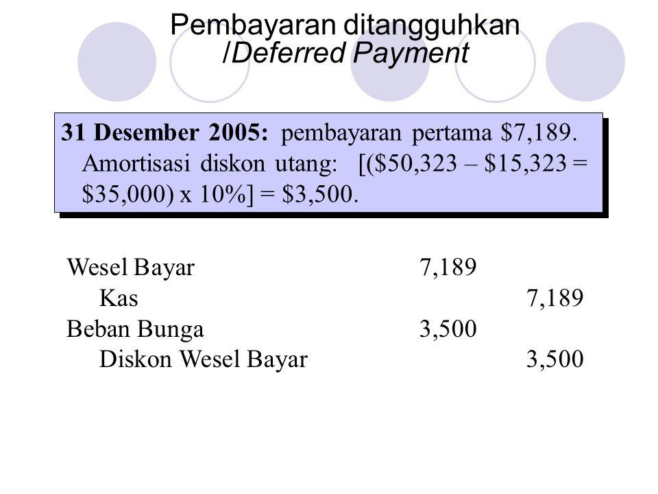 Pembayaran ditangguhkan /Deferred Payment 31 Desember 2005: pembayaran pertama $7,189. Amortisasi diskon utang: [($50,323 – $15,323 = $35,000) x 10%]