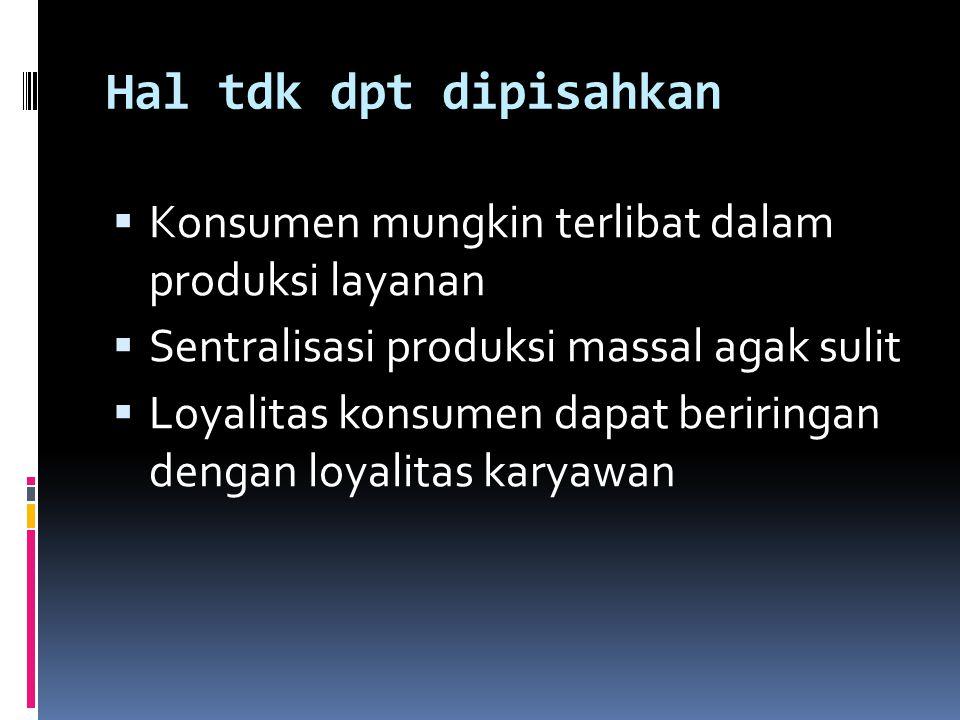 Hal tdk dpt dipisahkan  Konsumen mungkin terlibat dalam produksi layanan  Sentralisasi produksi massal agak sulit  Loyalitas konsumen dapat beriringan dengan loyalitas karyawan