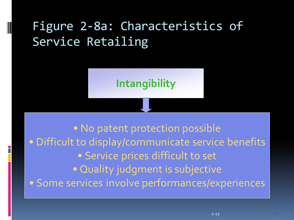 2-27 27 Figure 2-8a: Characteristics of Service Retailing Intangibility No patent protection possible Difficult to display/communicate service benefits Service prices difficult to set Quality judgment is subjective Some services involve performances/experiences 27
