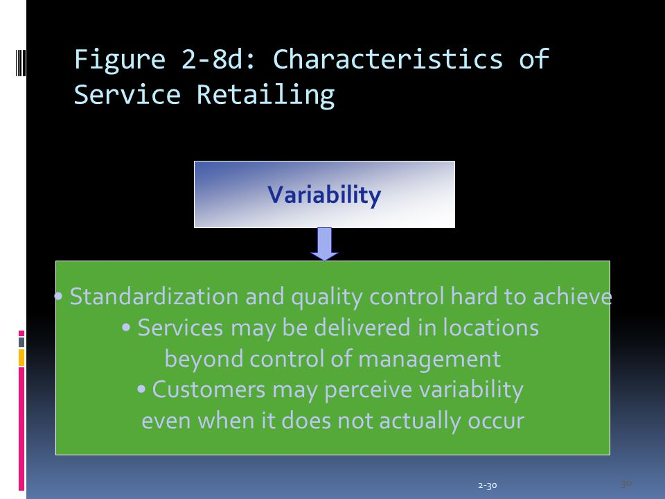 2-30 30 Figure 2-8d: Characteristics of Service Retailing Variability Standardization and quality control hard to achieve Services may be delivered in