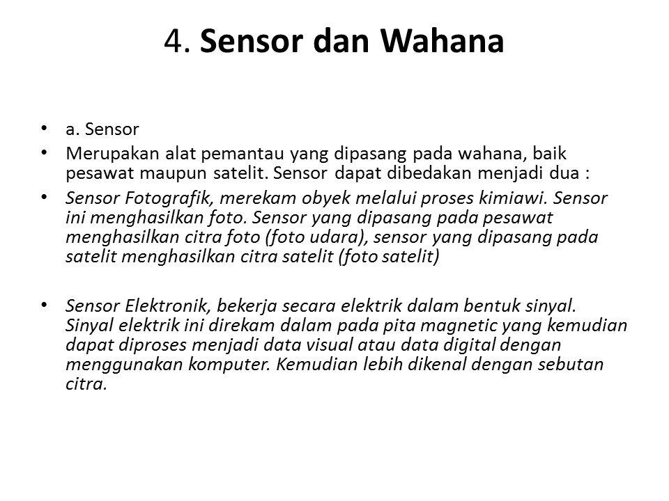 4. Sensor dan Wahana a. Sensor Merupakan alat pemantau yang dipasang pada wahana, baik pesawat maupun satelit. Sensor dapat dibedakan menjadi dua : Se