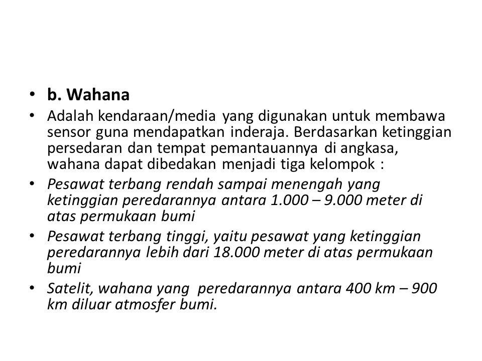 b. Wahana Adalah kendaraan/media yang digunakan untuk membawa sensor guna mendapatkan inderaja. Berdasarkan ketinggian persedaran dan tempat pemantaua