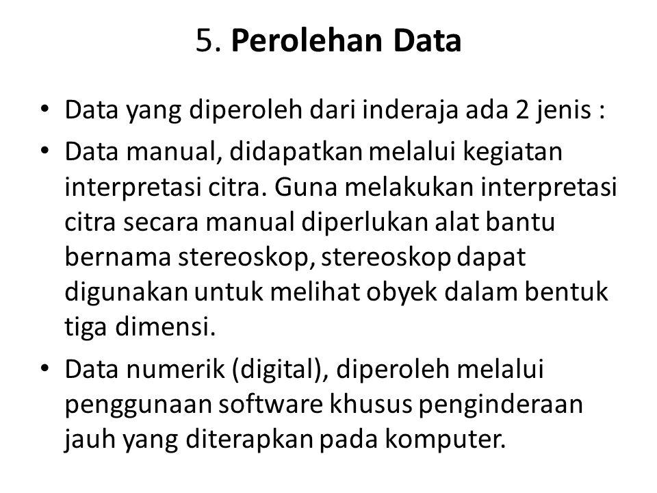 5. Perolehan Data Data yang diperoleh dari inderaja ada 2 jenis : Data manual, didapatkan melalui kegiatan interpretasi citra. Guna melakukan interpre