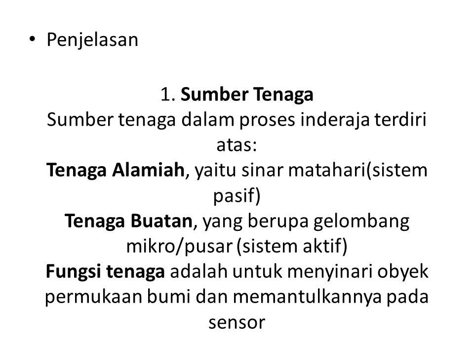 1. Sumber Tenaga Sumber tenaga dalam proses inderaja terdiri atas: Tenaga Alamiah, yaitu sinar matahari(sistem pasif) Tenaga Buatan, yang berupa gelom