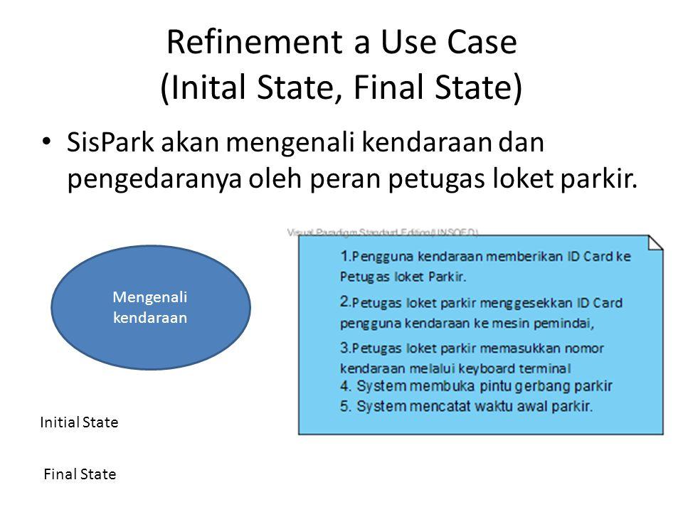 Refinement a Use Case (Inital State, Final State) SisPark akan mengenali kendaraan dan pengedaranya oleh peran petugas loket parkir. Mengenali kendara