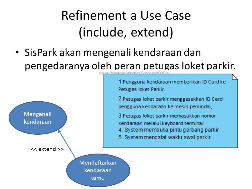 Refinement a Use Case (include, extend) SisPark akan mengenali kendaraan dan pengedaranya oleh peran petugas loket parkir. Mengenali kendaraan Mendaft