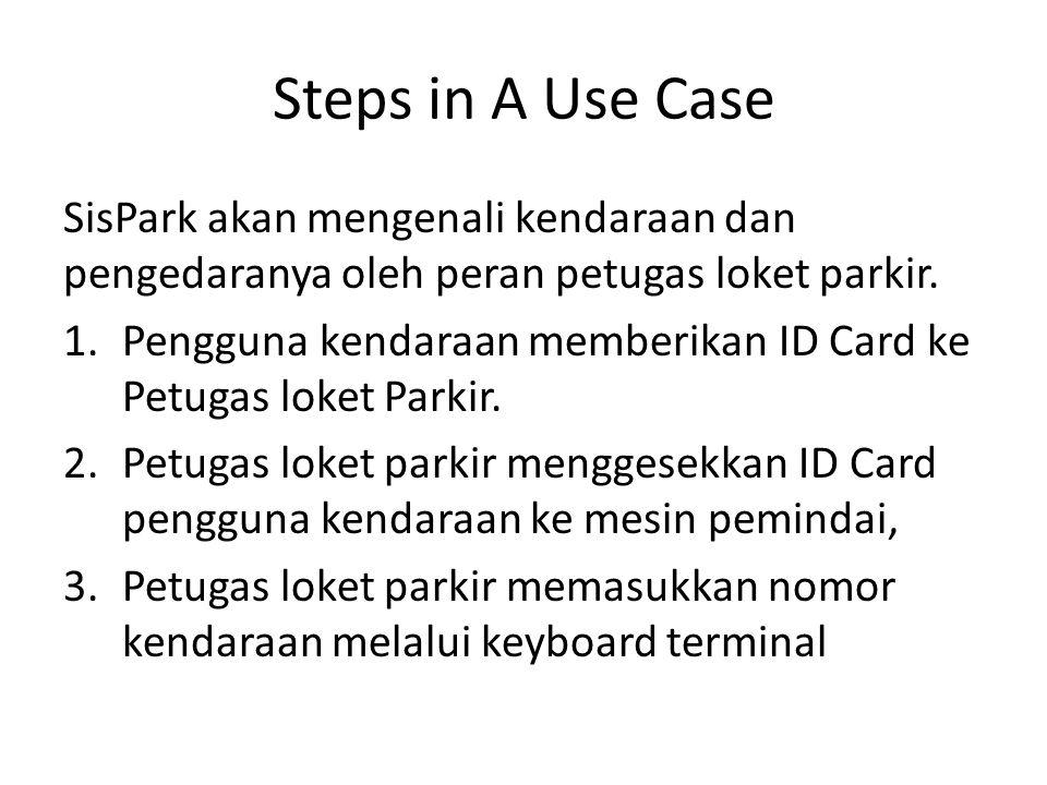 Steps in A Use Case SisPark akan mengenali kendaraan dan pengedaranya oleh peran petugas loket parkir. 1.Pengguna kendaraan memberikan ID Card ke Petu