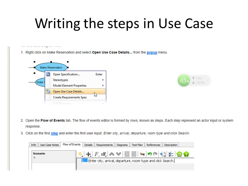 Writing the steps in Use Case