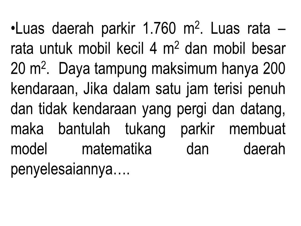 Luas daerah parkir 1.760 m 2. Luas rata – rata untuk mobil kecil 4 m 2 dan mobil besar 20 m 2. Daya tampung maksimum hanya 200 kendaraan, Jika dalam s