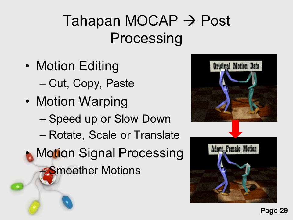 Free Powerpoint Templates Page 29 Tahapan MOCAP  Post Processing Motion Editing –Cut, Copy, Paste Motion Warping –Speed up or Slow Down –Rotate, Scale or Translate Motion Signal Processing –Smoother Motions