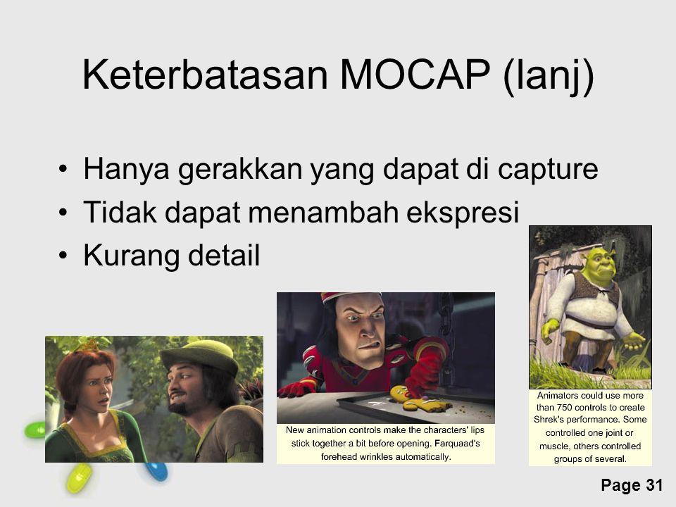 Free Powerpoint Templates Page 31 Keterbatasan MOCAP (lanj) Hanya gerakkan yang dapat di capture Tidak dapat menambah ekspresi Kurang detail